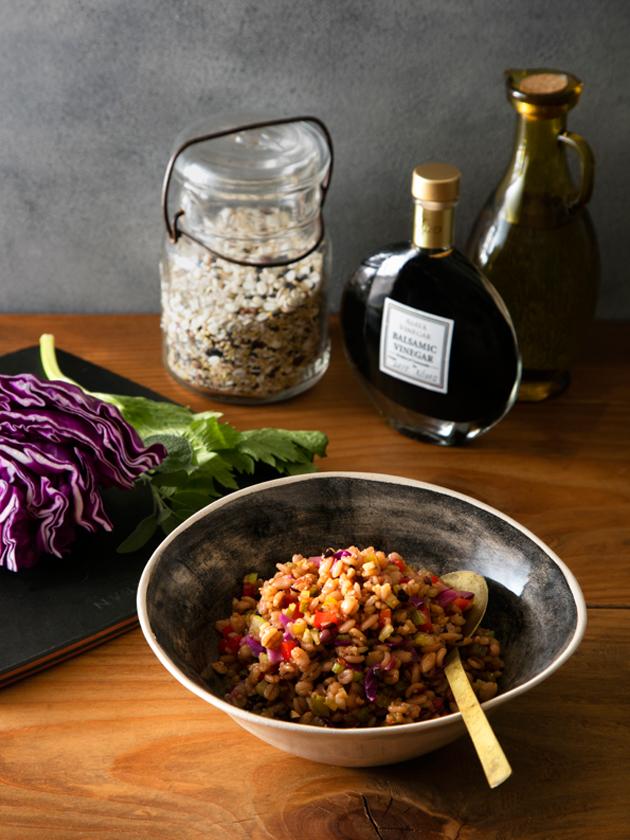 国産バルサミコ酢の穀物のサラダ
